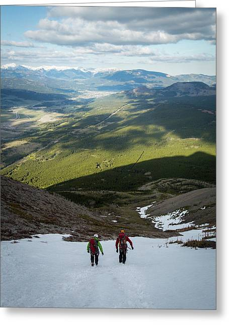 People Walking On Crowsnest Pass Greeting Card
