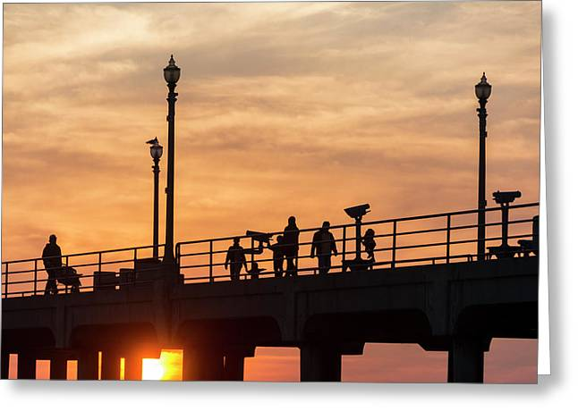 People Walking On Pier Greeting Card by Roberto Lopez