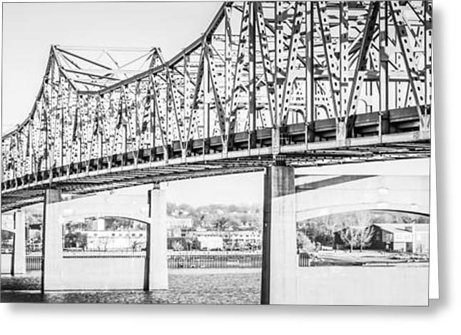 Peoria Bridge Panoramic Black And White Picture Greeting Card by Paul Velgos