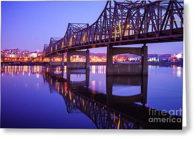 Peoria Illinois Bridge At Night - Murray Baker Bridge Greeting Card by Paul Velgos