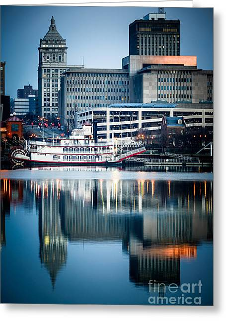 Peoria Illinois Cityscape And Riverboat Greeting Card by Paul Velgos