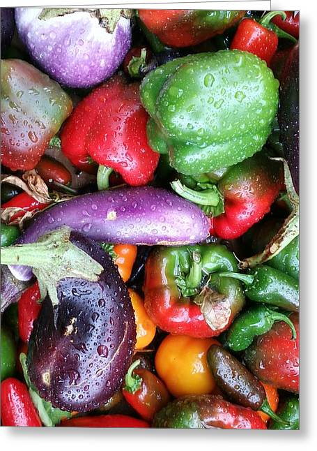 Pepper Eggplant Mix Greeting Card by Mark Victors