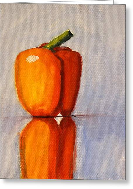 Pepper Reflection Still Life Greeting Card by Nancy Merkle