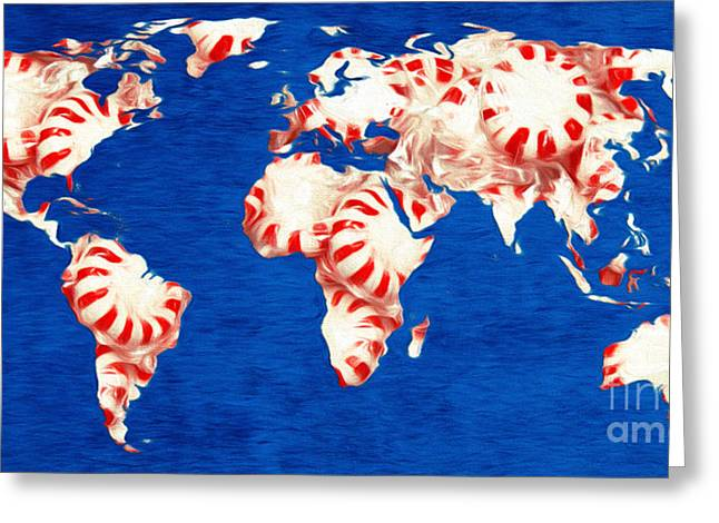 Peppermint World Painting Greeting Card