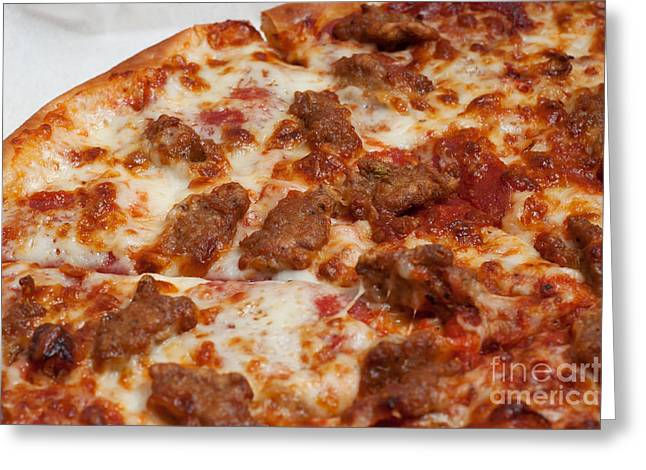 Pepperoni And Italian Sausage Pizza Greeting Card
