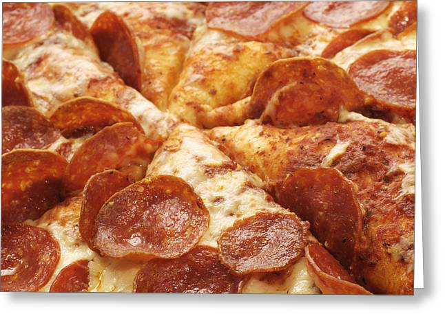 Pepperoni Pizza 25 Square Greeting Card