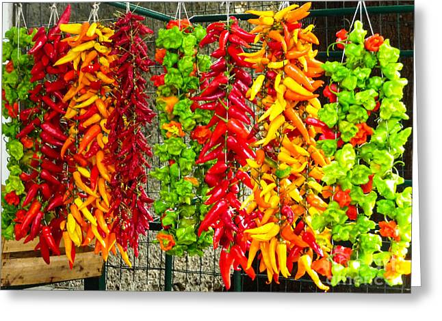 Greeting Card featuring the photograph Peppers For Sale by Mike Ste Marie