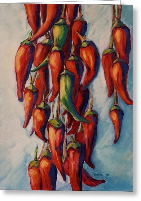 Greeting Card featuring the painting Peppers by Konnie Kim