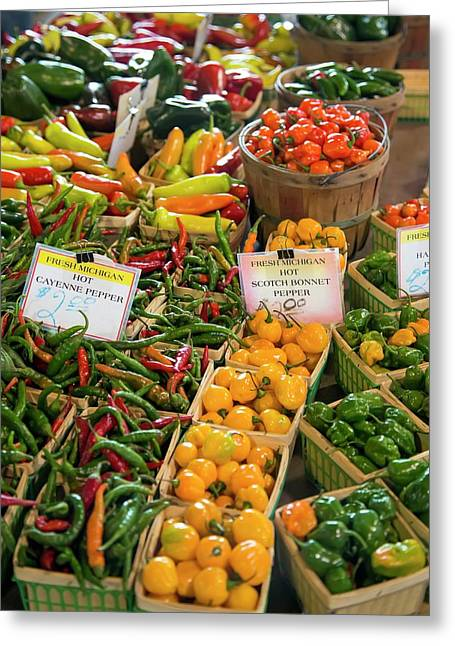 Peppers On A Market Stall Greeting Card by Jim West