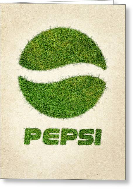 Pepsi Grass Logo Greeting Card by Aged Pixel
