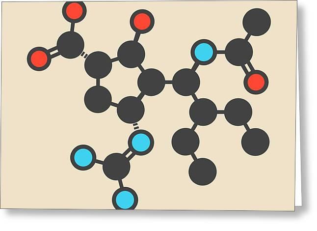 Peramivir Influenza Drug Molecule Greeting Card
