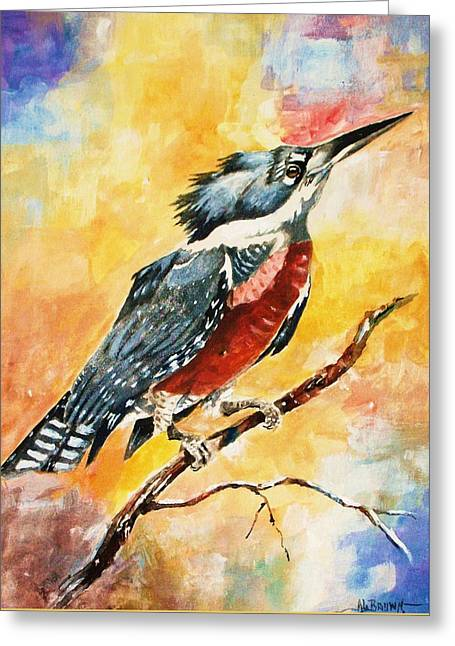 Greeting Card featuring the painting Perched Kingfisher by Al Brown