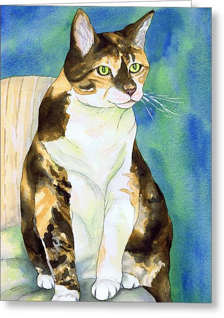 Perched Tabby Cat Greeting Card by Cherilynn Wood