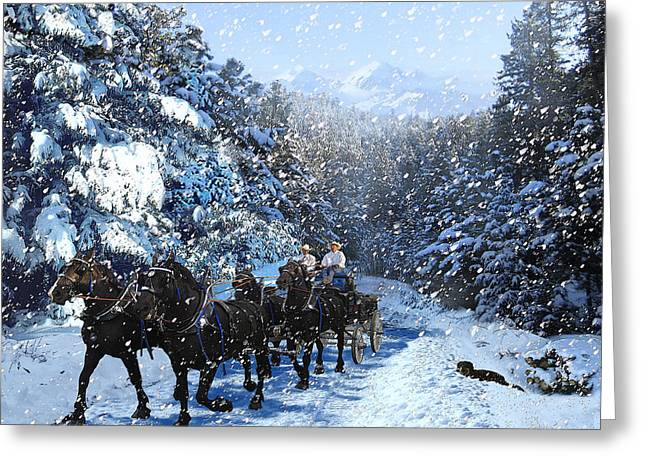 Percheron Team In Snow Greeting Card by Ric Soulen