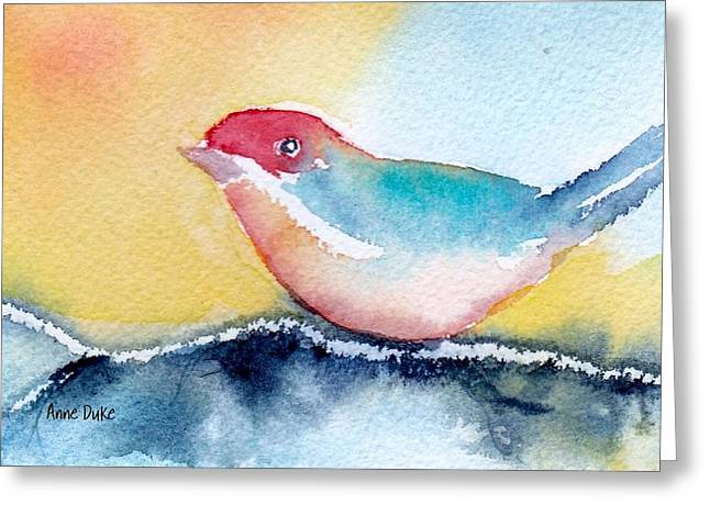 Greeting Card featuring the painting Perching by Anne Duke