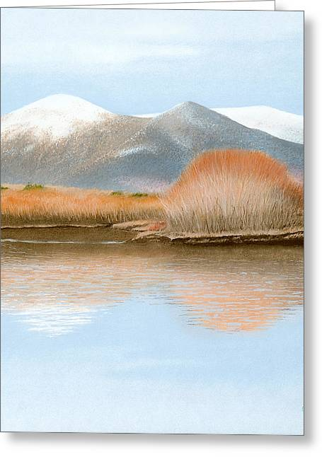 Snowed Trees Pastels Greeting Cards - Percy Peaks Greeting Card by Bruce Richardson