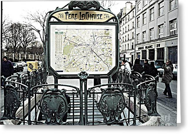 Paris Pere Lachaise Metro Station Map And Pere Lachaise Art Nouveau Architecture Greeting Card by Kathy Fornal