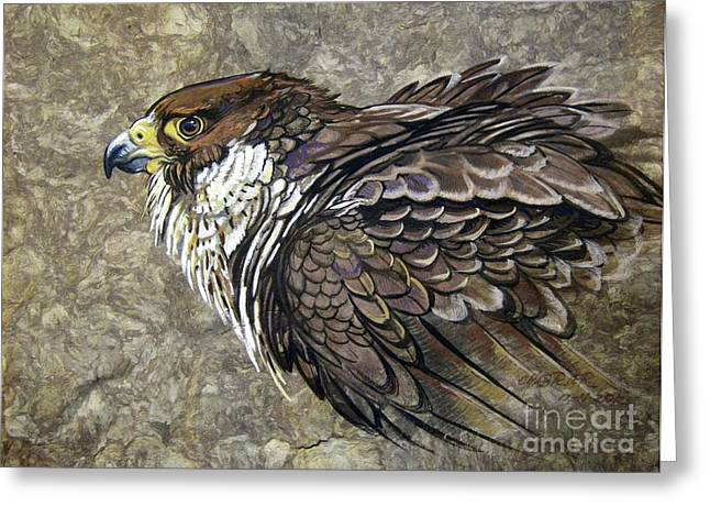 Peregrine Falcon Greeting Card by Anne Shoemaker-Magdaleno