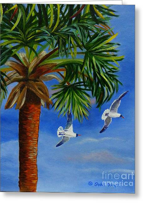 Greeting Card featuring the painting Perfect Flight  Palm Tree And Seagulls by Shelia Kempf