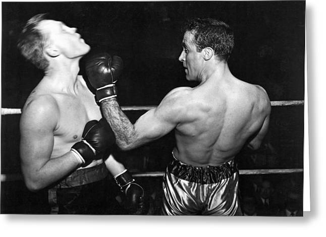 Perfect Form Uppercut Greeting Card by Underwood Archives