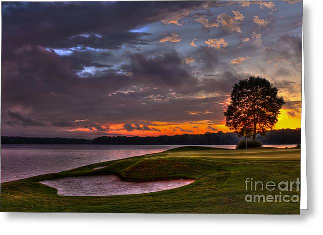 Perfect Golf Sunset In Reynolds Plantation Greeting Card by Reid Callaway