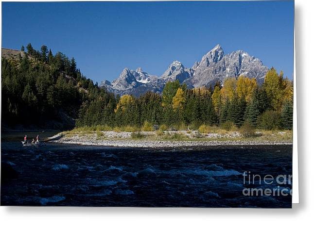 Perfect Spot For Fishing With Grand Teton Vista Greeting Card by Karen Lee Ensley