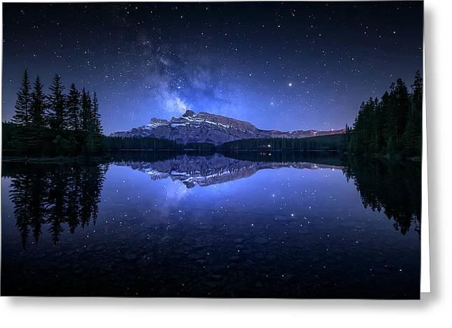 Perfect Two Jack Lake Reflection Greeting Card