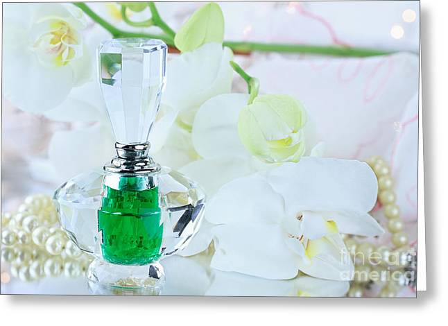 Perfume And White Orchids  Greeting Card by Stephanie Frey