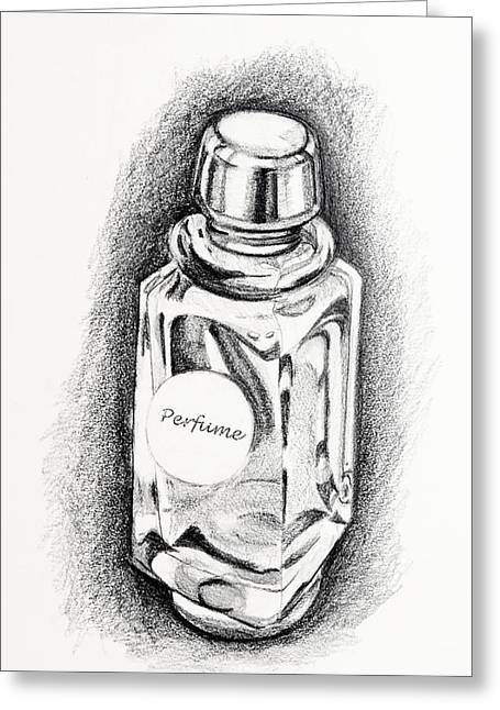Greeting Card featuring the drawing Perfume Bottle by Vizual Studio