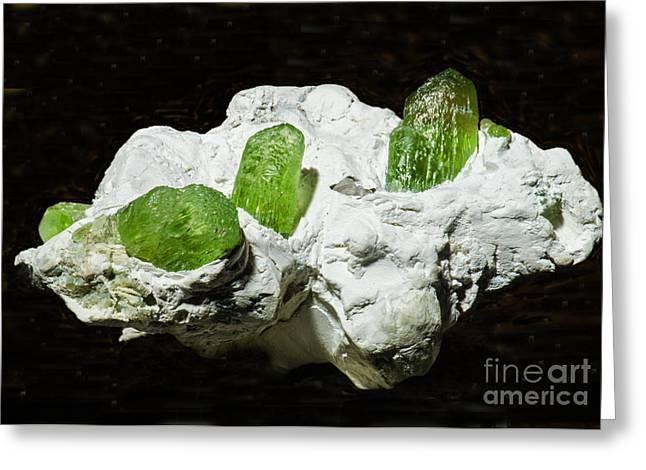 Peridot Crystals Greeting Card by Millard H. Sharp