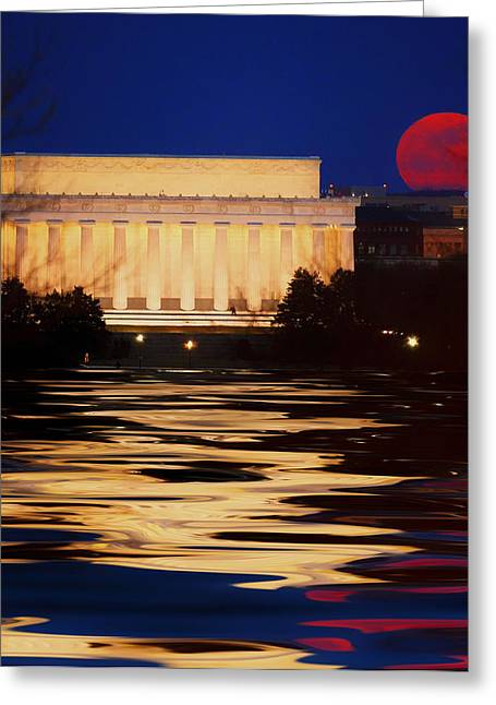 Perigee Moon Over The Lincoln Memorial Greeting Card by Mountain Dreams