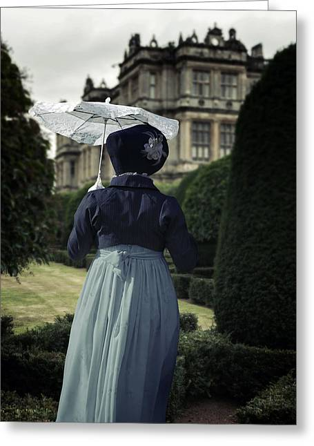 Period Lady In Park Greeting Card by Joana Kruse