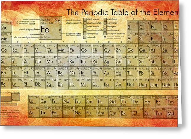 Periodic Table Of The Elements Greeting Card by Georgia Fowler