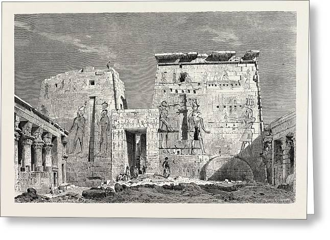 Peristyle In The Temple Of Isis On The Islan Of Philae Greeting Card by Litz Collection