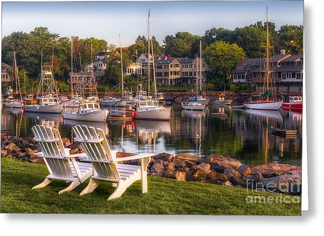 Perkins Cove Harbor Greeting Card by Jerry Fornarotto