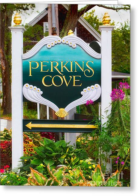Perkins Cove Sign Greeting Card by Jerry Fornarotto
