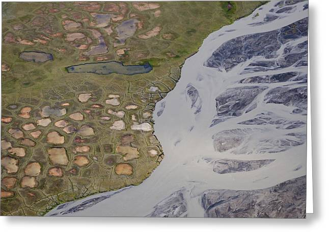 Permafrost Polygons And Braided River Greeting Card
