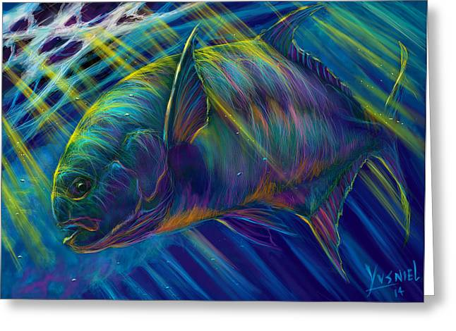 Swordfish Digital Art Greeting Cards - Permit To Greatness  Greeting Card by Yusniel Santos
