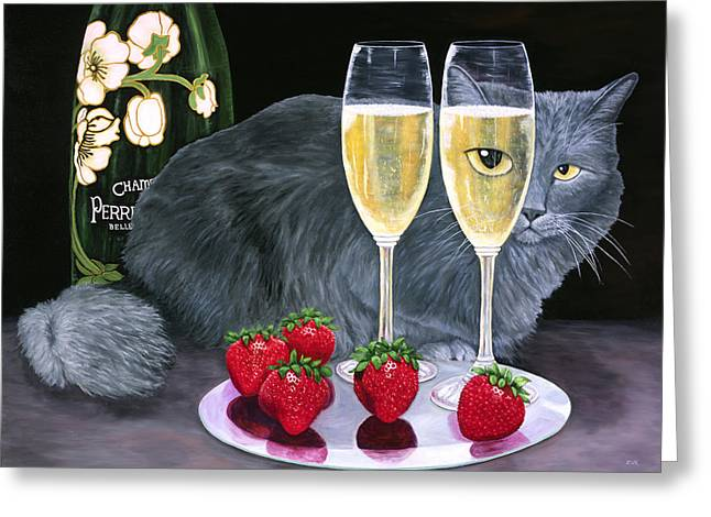 Perrier Jouet Et Le Chat Greeting Card