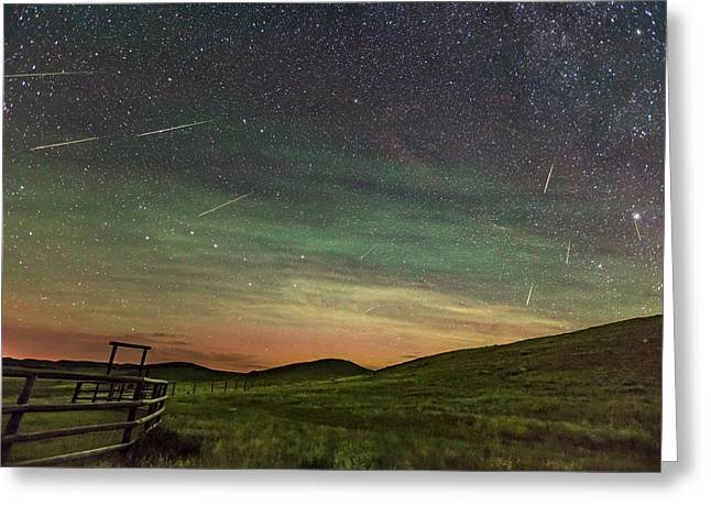 Perseid Meteor Shower Looking North 2016 Greeting Card