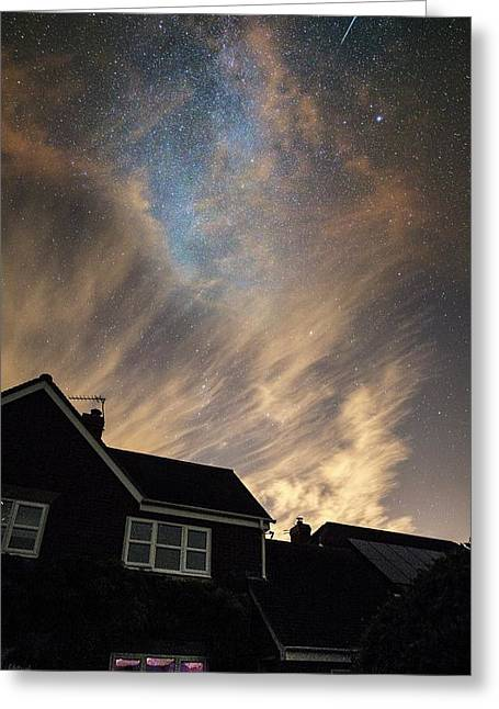 Perseid Meteor Trail Over Houses Greeting Card