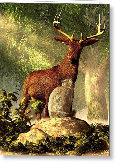 Persian Cat And Deer Greeting Card by Daniel Eskridge