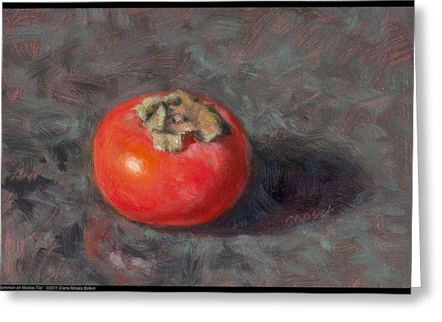 Persimmon On Marble Tile Greeting Card