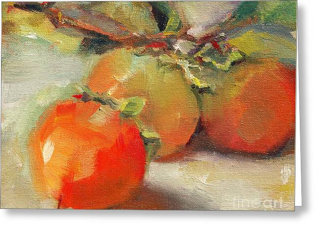 Persimmons Greeting Card by Michelle Abrams