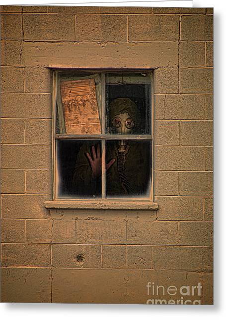 Person In Gas Mask Looking Out Window Greeting Card