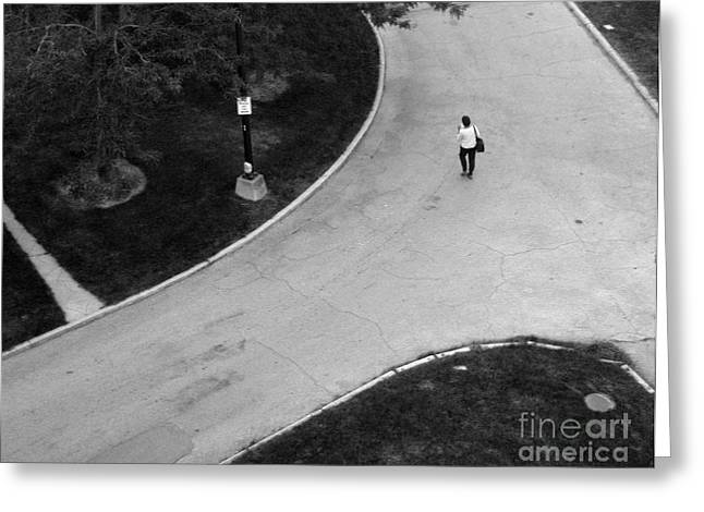 Person On Walkway Greeting Card