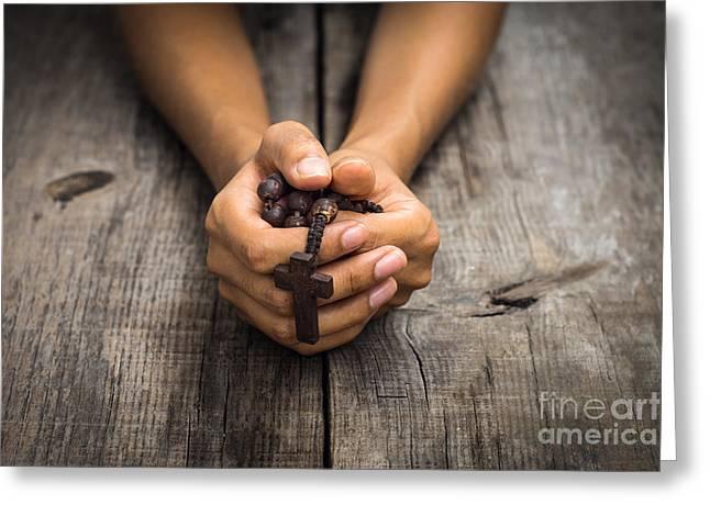 Person Praying Greeting Card