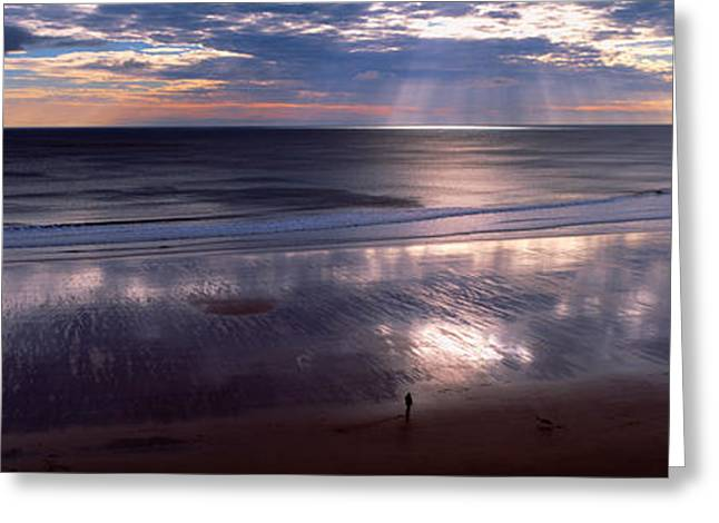 Person Standing On The Beach Greeting Card by Panoramic Images