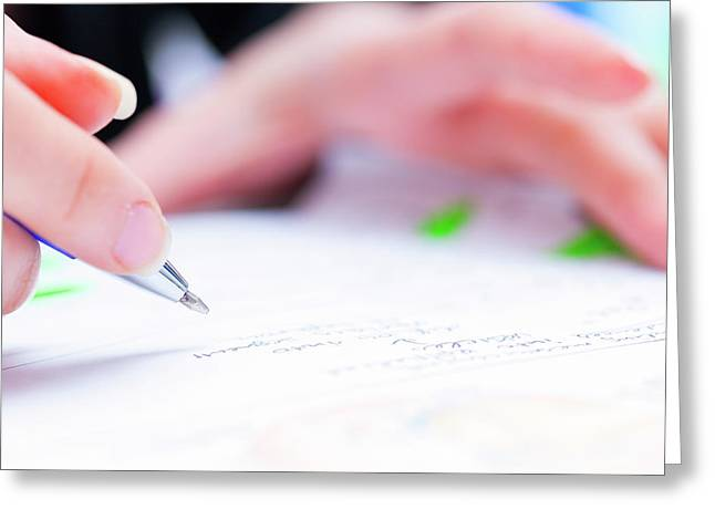 Person Using A Pen To Sign A Document Greeting Card by Wladimir Bulgar