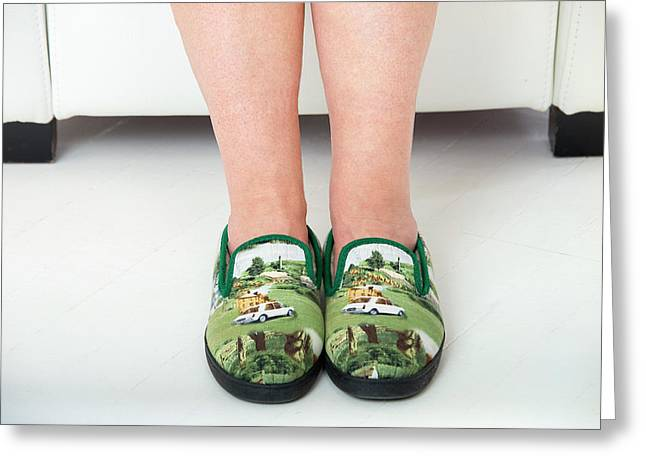 Person Wearing Slippers Greeting Card by Lea Paterson